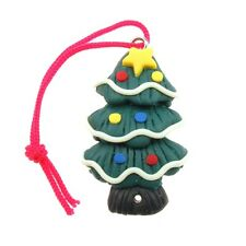 Fimo Christmas Charm / Tree Decorations, Tree With Baubles And Star, 2 Pack