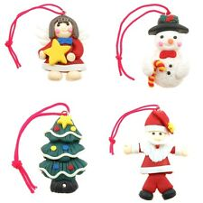 Fimo Christmas Charm / Tree Decorations, Angel/Fairy, Snowman, Tree, Santa, 2pcs