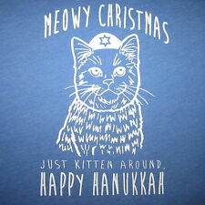 womens meowy christmas just kitten around happy hanukkah new cat sweater t shirt