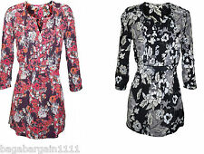 NEW EX MONSOON RED BLUE BLACK GREY WHITE FLORAL TUNIC BLOUSE SHIRT TOP SIZE 8-18