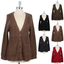 Studded Shoulder Accent V Neck Button Down Knit Cardigan with Pockets Cute S M L