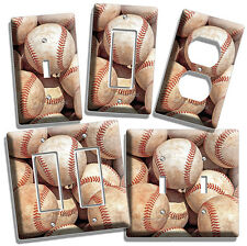 BASEBALL OLD RUSTIC BALLS LIGHT SWITCH POWER OUTLET WALL PLATE COVER DECOR MLB