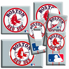 BOSTON MLB RED SOX LOGO LIGHT SWITCH POWER OUTLET WALL PLATE COVER ROOM DECOR NW