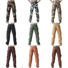 Mens Military Army Combat Camo Casual Solid Color Pockets Cargo Pants Trousers