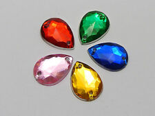 200 Acrylic Teardrop Flatback Sewing Rhinestone Button 10X14mm Pick Your Color