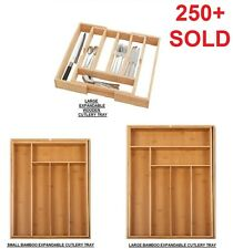 NEW WOODEN / BAMBOO CUTLERY TRAY ORGANISER DRAWER STORAGE BOX WITH WHITE BASE