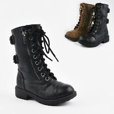 Girls Kids Military Combat Boots Army Cadet Laces Zippers Buckles Booties Shoes