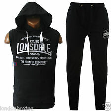 Lonsdale Mens Tracksuit Black Sleeveless Gym Hoody & Jog Running Pants