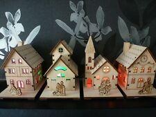 Christmas Wooden Light Up Church House Scene Festive Decorative Display Village