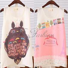 Women's Cartoon Printed Cute Girls Chiffon Vest Tank Tee Shirt Tops Cami Blouse