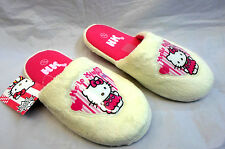 GIRLS CHARACTER FAUX FUR HELLO KITTY MULE SLIPPERS,SIZES 10/11 12/13 1/2 3/4