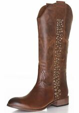 Women's Lucchese Spirit Avery Grommet Leather Chocolate Brown Riding Boots