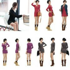Womens Solid Color V Neck Long Sleeve Base Bottoming Party Shirt  Mini Dress