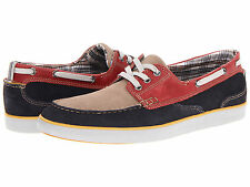 CLARKS JAX COMFORT BOAT SHOE MEN'S NAVY, RED & TAUPE  NEW IN BOX