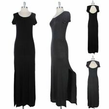 Short Sleeve Open Back Long Maxi Dress with Slits Full Length Solid Rayon S M L