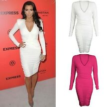 New Celebrity Low V Neck Long Sleeve Ruched Detail Midi Bodycon Party Dress