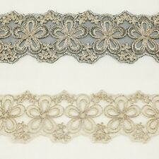 Floral Metallic Embroidered Venise venice Lace Trim #279- Bridal Wedding Dress