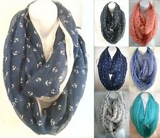 NEW womens ANCHOR PRINTS infinity scarf double circle cowl long scarf Wrap loop