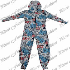 Girls Boys Kids Happy Lucky Hooded All in One Jumpsuit Piece New Playsuit Onesie