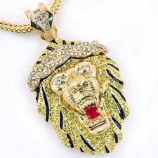 "Hip Hop CZ Crystal Stone Lion Pendant 36"" Franco Chain Necklace 62Z01021"