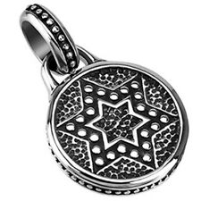 Stainless Steel Fancy Star of David Round Pendant w/ Necklace