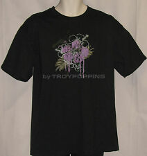 FLORAL TATTOO HIBISCUS TROPICAL FLOWER HAWAII BEACH GRAPHIC PRINTED T-SHIRT TEE