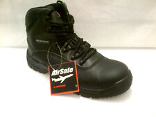MENS AIRSAFE WATER PROOF LEATHER BLACK WORK STEEL TOE CAP BOOTS,SIZES 6-13 AS-C4