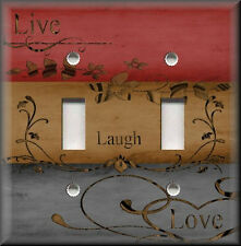 Light Switch Plate Cover - Live Laugh Love - Home Decor - Red Grey Brown