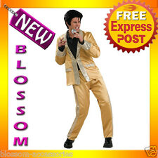 C159 Mens Elvis Presley Rock 50s Gold Fancy Dress Adult Costume