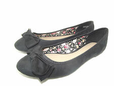 NEW LADIES GIRLS BLACK EX BARRATTS BOW DOLLY SHOES BALLERINAS FLATS SZ 4 5 6 7 8