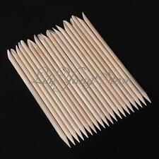 20/100Pcs Two Way Wood Sticks Cuticle Pusher Remover Nail Pedicure Manicure Tool