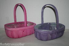 wicker trug baskets mothers day wedding gift flowers pink or lilac ideal hamper