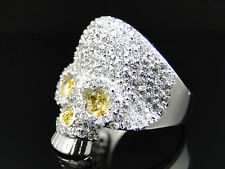 New Mens White Gold Finish Stainless Steel Canary Lab Diamond Skull Head Ring