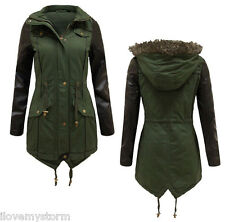 NEW LADIES WOMENS FAUX LEATHER PVC SLEEVE FUR HOODED MILITARY PARKA JACKET COAT