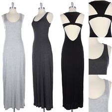 Sleeveless Open Back Full Length Long Maxi Dress Solid Scoop Neck Rayon S M L
