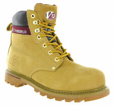 MENS V12 POWERWEAR LEATHER HONEY NUBUCK  WORK STEEL TOE CAP BOOTS,V1237 BOULDER