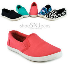 Casual Light Weighted Slip On Round Toe Boat Shoe Flat Sneaker Comfy Canvas