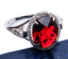 7ct Halo Style Red Garnet CZ .925 Sterling Silver Ring Sizes 5-9