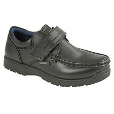 Boys Smart Black School Shoes Junior Size Black Touch Fastening Comfort Trainers