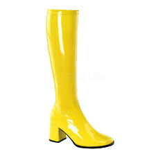 Yellow 60s 70s GoGo Hippie Super Hero Costume Boots Large Size Shoes 14 15 16