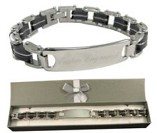Custom Engraved Men's ID Bracelet Thick & Chunky Design with gift box - BR4