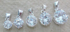 NEW 925 STERLING SILVER Clear White Round CZ Pendant 6mm/7mm/8mm/10mm/12mm Gift