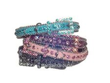 Puppy Dog Pet Rhinestone Bling Crystal Croco Leather Collar XXS - XXL