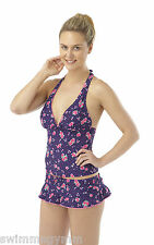 LADIES PURPLE FLEUR ROSE HALTERNECK SKIRTINI TANKINI BIKINI NEW SKIRT RUFFLE