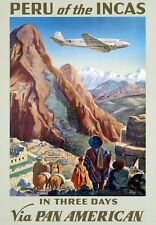 TA1 Vintage PERU Of The INCAS Travel Airline Poster Re-Print A3/A4