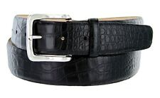 Valley View - Genuine Leather Italian Calfskin Designer Dress Belt, Croco Black