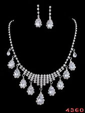 Gorgeous Silver Crystal Rhinestone Wedding Party Necklace Earring Set Jewelry