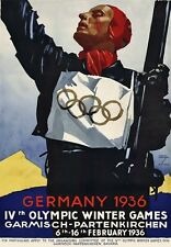 TU68 Vintage German Germany 1936 Winter Olympic Games Travel Poster A2/A3/A4