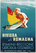 TV51 Vintage 1940's Riviera Di Romagna Italy Italian Travel Poster  A3/A4