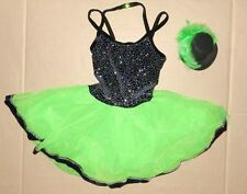 NWOT DANCE Pageant Costume Lime w/ mini topper feather trim glitter ribbonhem SM